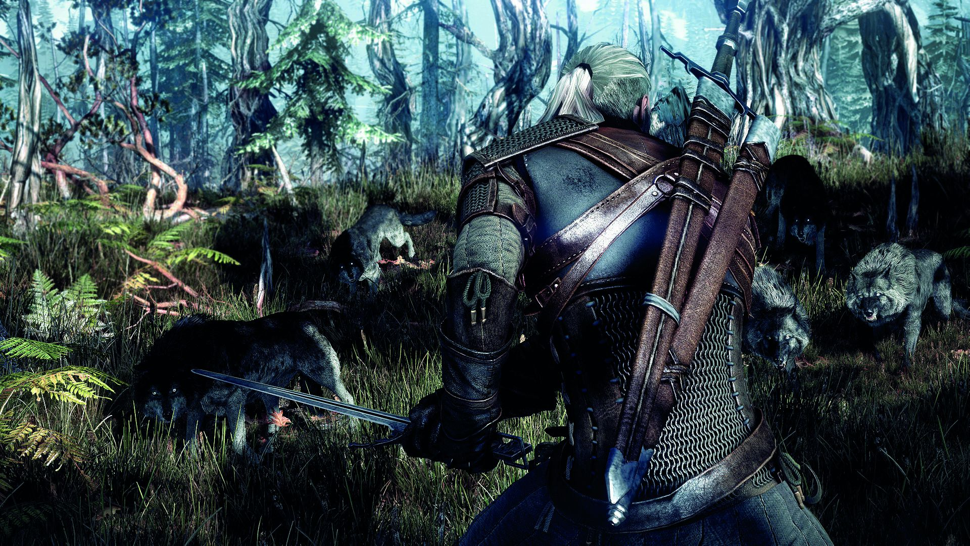 6265_the_witcher_3_wild_hunt_geralt_surrounded_by_wolves_in_the_forest