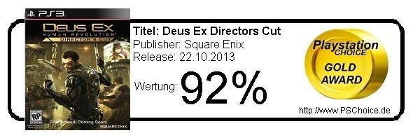 Deus Ex Human Revolution Directors Cut - Die Wertung von Playstation Choice