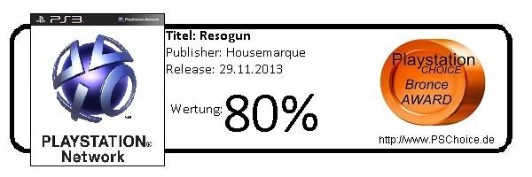 Resogun PS4 PSN- Die Wertung von Playstation Choice
