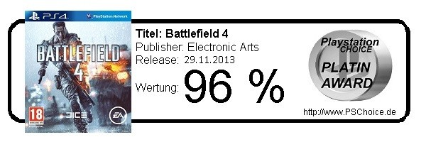 Battlefield 4 für Playstation 4 - Die Wertung von Playstation Choice
