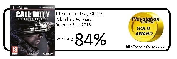 COD Ghosts PS3-Gesamtwertung- Die Wertung von Playstation Choice