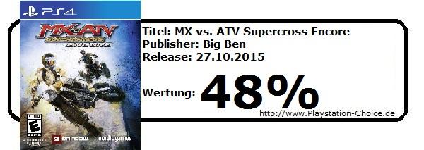 MX vs ATV Supercross Encore-PS4-Die-Wertung-von-Playstation-Choice